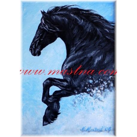 Autorský tisk fríský kůň
