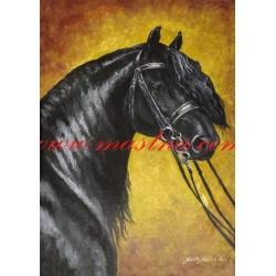 Obraz fríský kůň, koně, olejomalba - tisk
