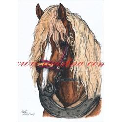 Obraz českomoravský belgik, koně, perokresba - tisk