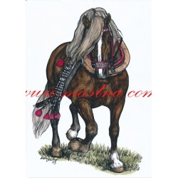 Obraz českomoravský belgik Almar, koně, perokresba - tisk