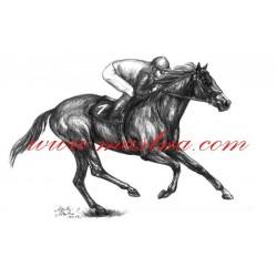 Autorský tisk kůň anglický plnokrevník, dostihy