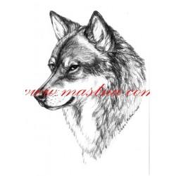 Obraz vlk, tužka - tisk
