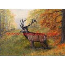 Obraz jelen, myslivost, olejomalba - tisk