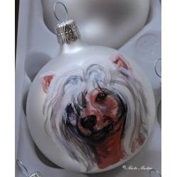 Skleněná ozdoba čínský chocholatý pes
