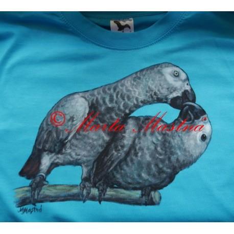 Malované tričko papoušek žako
