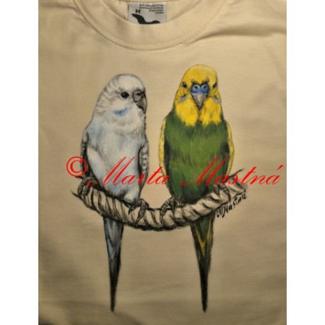Malované tričko papoušek andulka