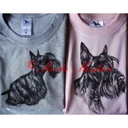 Malované tričko skotský teriér