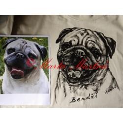 Malované tričko mops