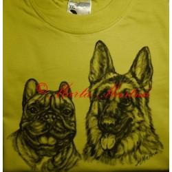 Malovaná mikina a trička německý ovčák