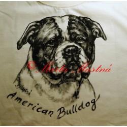 Malované tričko americký buldok
