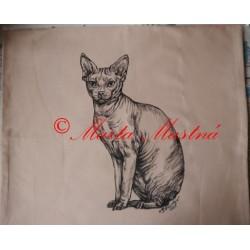 Malovaný polštářek kočka sfinx