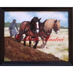 Portrét oráče s jeho koňmi