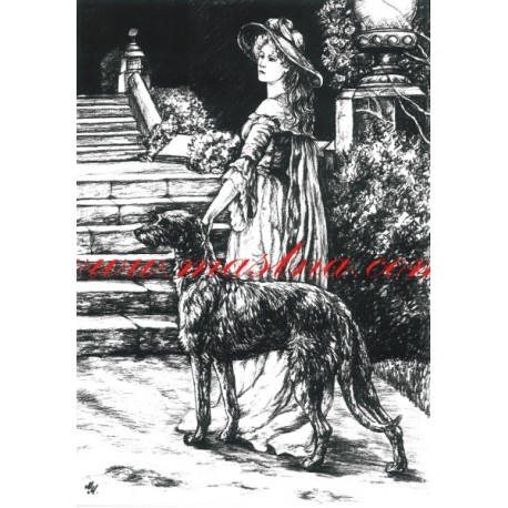 Kopie staré kresby - deerhound