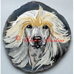 Malba na řezaný achát čínský chocholatý pes