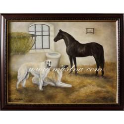 Obraz ve starém stylu s konkrétními zvířaty