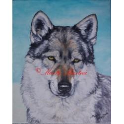 Obraz československý vlčák, vlk, olejomalba na plátně