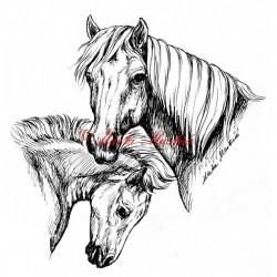 Samolepka klisna s hříbětem, hafling, pony, kůň, koně