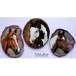 Koně - achátové plátky