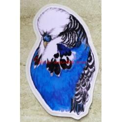 Samolepka andulka výstavní, papoušek vlnkovaný
