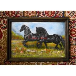 Obraz frísové, olejomalba koně