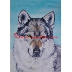 Obraz československý vlčák, vlk, olejomalba - tisk