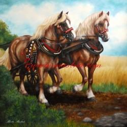 Obraz chladnokrevní koně, olejomalba - tisk