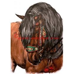 Obraz anglický plnokrevník Tiumen, koně, perokresba - tisk