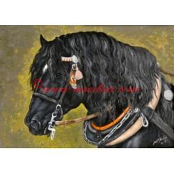 Obraz chladnokrevník, koně, olejomalba - tisk