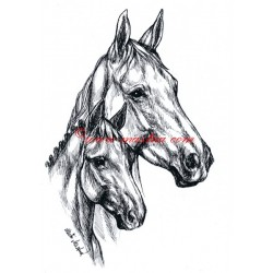 Samolepka klisna s hříbětem, kůň, koně