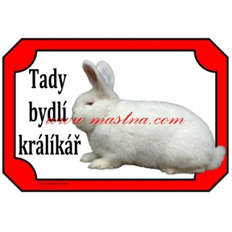 Cedulka králík novozélandský bílý