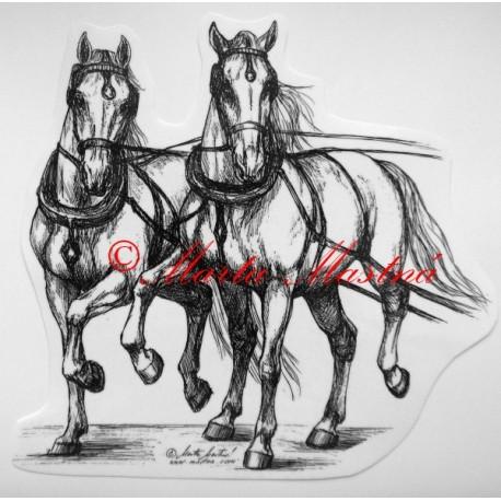 Samolepka kůň kladrubský, lipicán, spřežení
