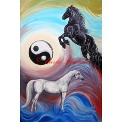 """Obraz koně ,,Vlny života"""", jin a jang"""