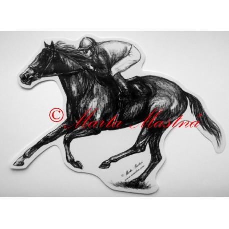 Samolepka kůň plnokrevník, dostihy