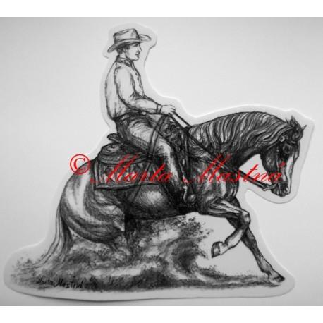 Samolepka kůň slide stop, quarter horse, western
