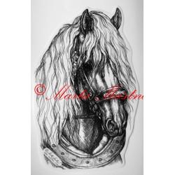 Samolepka chladnokrevník, belgik, kůň, koně