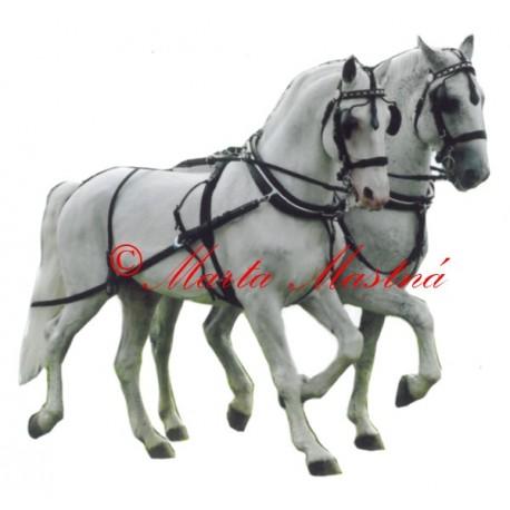 Samolepka kůň kladrubský, spřežení